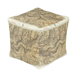 Topographical Map of The Yosemite Valley 2 Cube Pouf