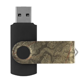 Topographical Map of The Yosemite Valley 2 Swivel USB 2.0 Flash Drive