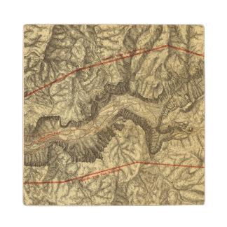 Topographical Map of The Yosemite Valley 2 Wooden Coaster