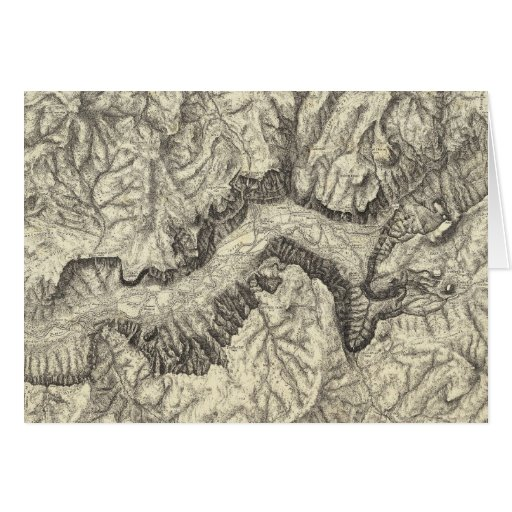 Topographical Map of The Yosemite Valley Cards