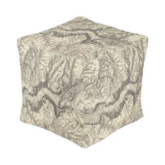 Topographical Map of The Yosemite Valley Cube Pouf