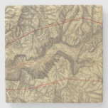 Topographical Map of The Yosemite Valley Stone Beverage Coaster