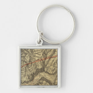 Topographical Map of The Yosemite Valley Keychain