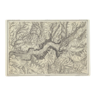 Topographical Map of The Yosemite Valley Laminated Placemat