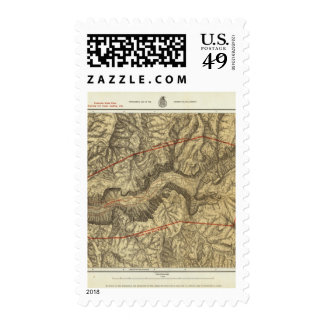 Topographical Map of The Yosemite Valley Stamp