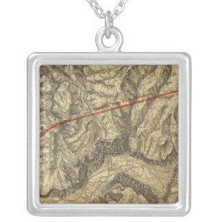 Topographical Map of The Yosemite Valley Silver Plated Necklace