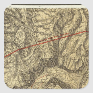 Topographical Map of The Yosemite Valley Square Sticker