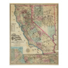 Topographical Railroad and County Map, California Poster