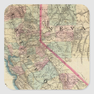 Topographical Railroad and County Map, California Square Sticker