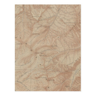 Topography Map, Yellowstone National Part, Wyoming Postcard
