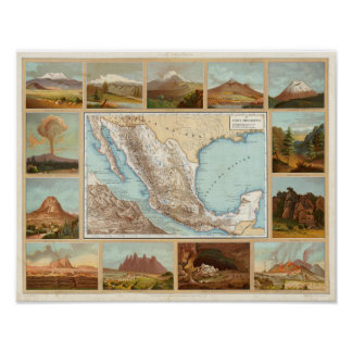 Topography of Mexico Poster