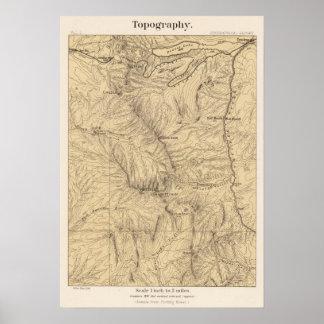 Topography TruckeeDonner Pass Region, California Poster