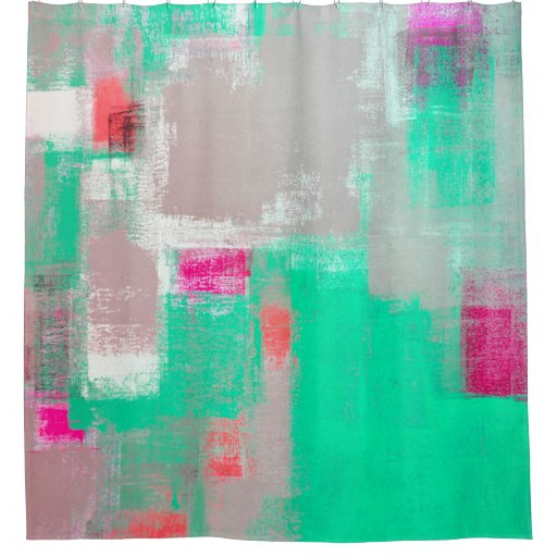 39 toppings 39 green and pink abstract art shower curtain zazzle