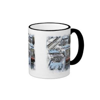 Tops de la tranvía taza de café