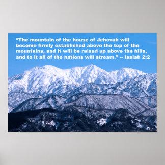 Tops del 2:2 de Isaías de las montañas Póster