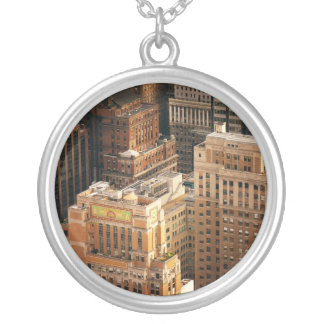 Tops of New York City Skyscrapers Round Pendant Necklace
