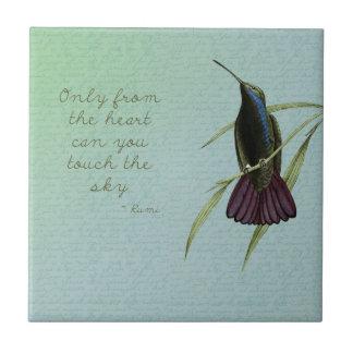 Toque el colibrí del cielo azulejo cuadrado pequeño