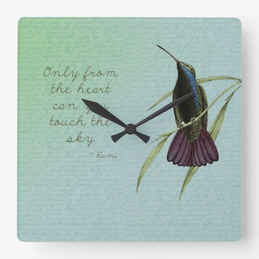 Toque el colibrí del cielo reloj de pared
