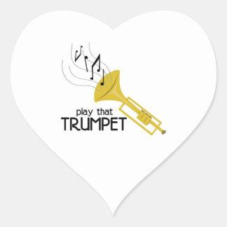 Toque esa trompeta pegatina en forma de corazón
