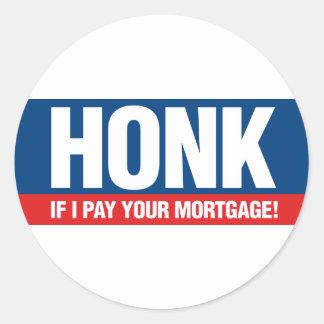 Toque la bocina si pago su hipoteca etiquetas