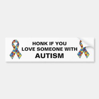 Toque la bocina si usted ama alguien con autismo pegatina para auto