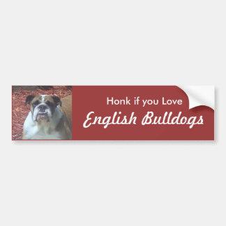 Toque la bocina si usted ama dogos ingleses pegatina para auto