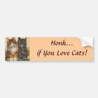 ¡Toque la bocina si usted ama gatos! Pegatina para Etiqueta De Parachoque