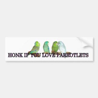 Toque la bocina si usted ama parrotlets pegatina para auto