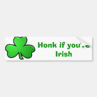 Toque la bocina si usted es irlandés pegatina de parachoque