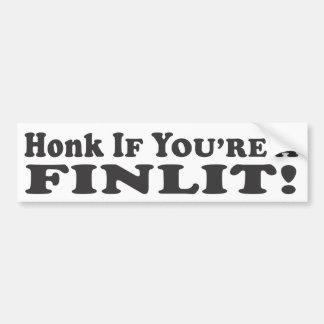 ¡Toque la bocina si usted es un Finlit! - Pegatina Pegatina De Parachoque