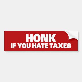 Toque la bocina si usted odia impuestos pegatina para auto