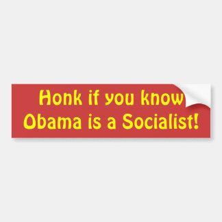 ¡Toque la bocina si usted sabe que Obama es un soc Etiqueta De Parachoque