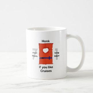 Toque la bocina si usted tiene gusto de travesías tazas de café