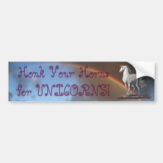 ¡Toque la bocina sus cuernos para los unicornios!  Pegatina Para Auto