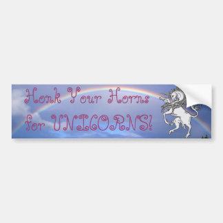 ¡Toque la bocina sus cuernos para los unicornios!  Etiqueta De Parachoque