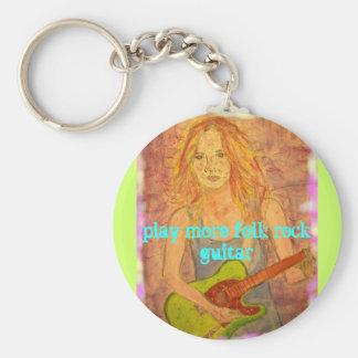 toque una guitarra más popular de la roca llavero redondo tipo pin