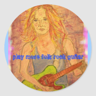 toque una guitarra más popular de la roca pegatina redonda