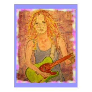 toque una guitarra más popular de la roca tarjeta postal