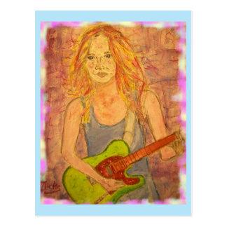 toque una guitarra más popular de la roca tarjetas postales