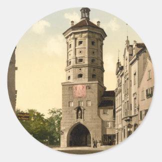 Tor de Wertachbrucker, Augsburg, Baviera, Alemania Pegatina Redonda