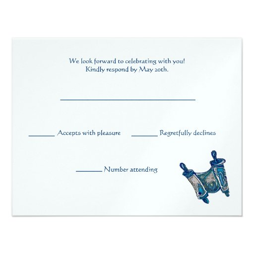 Torah Classic RSVP Card Custom Invitations