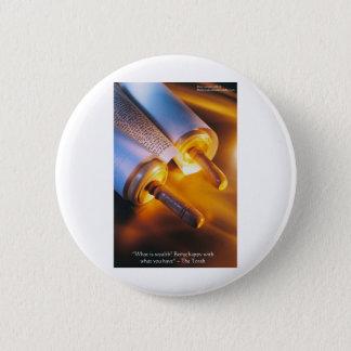 Torah Wisdom (Wealth/Happiness) Gifts, Mugs Etc Pinback Button