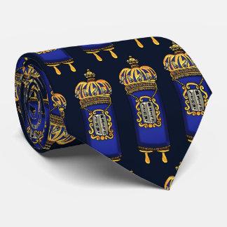 Torah with Blue Velvet and Ornate Gilt Covering Neck Tie