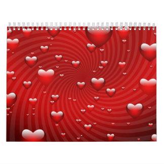 Torbellino de los corazones calendario de pared