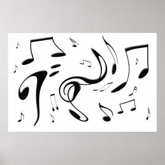 Torcer el poster de las notas musicales