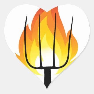 Torch and Pitchfork Heart Sticker