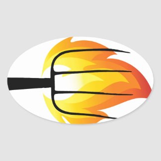 Torch and Pitchfork Oval Sticker