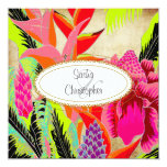 Torch Ginger+heliconia/Luau Wedding 5.25x5.25 Square Paper Invitation Card