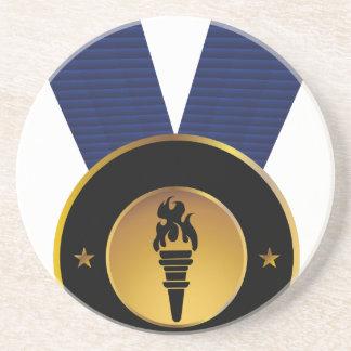 Torch Gold Medal Blue Ribbon Award Drink Coasters