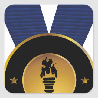 Torch Gold Medal Blue Ribbon Award Square Sticker